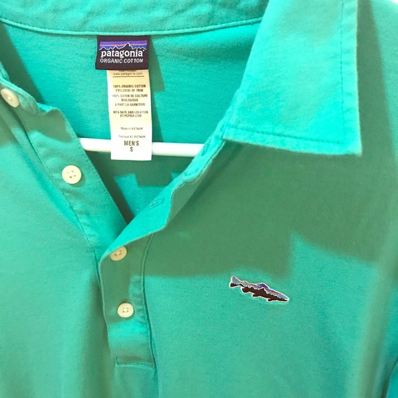 5f1100c9 Patagonia Men's Polo Trout Fitz Roy Small Teal. M_5aa74d6984b5ce785133bb49